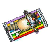 TS CAT ON TOWEL LARGE