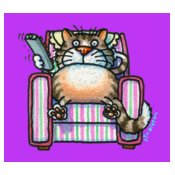 TS CAT ON COUCH purple block BG